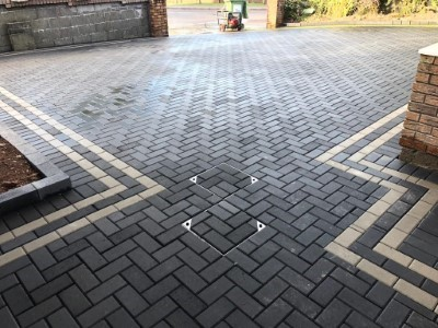 New Paved Driveway With Charcoal Block Paving