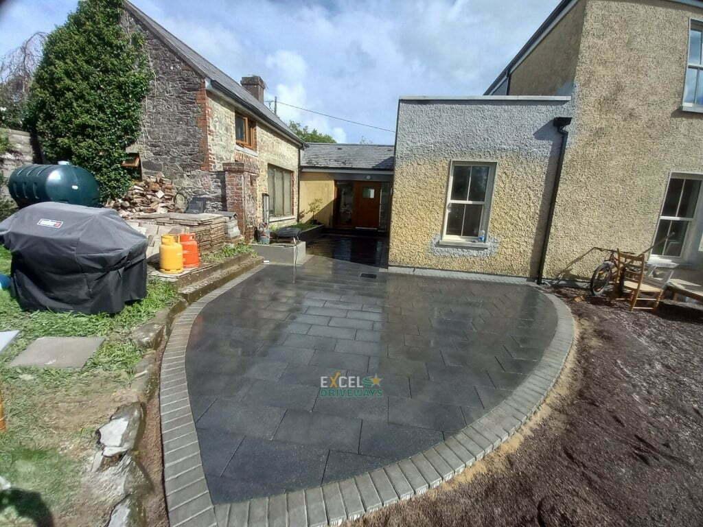 Black Granite Patio Area with Natural Paved Border in Carrignavar Co. Cork 5