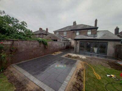 Black Granite Slabbed Patio with Paved Border in Ballinlough, Cork City