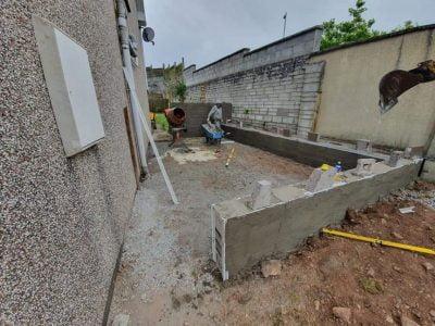 Granite Patio with Raised Seating Area in Douglas Cork