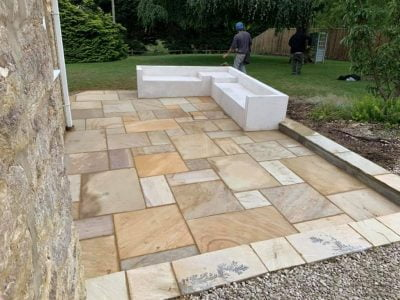 Indian Sandstone Patio with Concrete Seating Area in Cork City