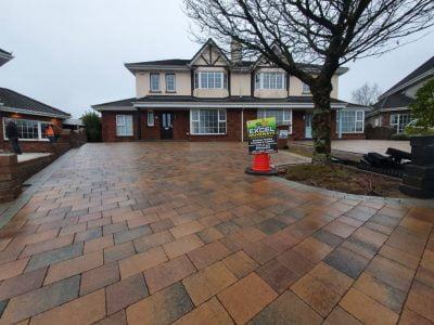 Triple Block Paving Driveway Project in Douglas (curragh blend with natural cobble 2)