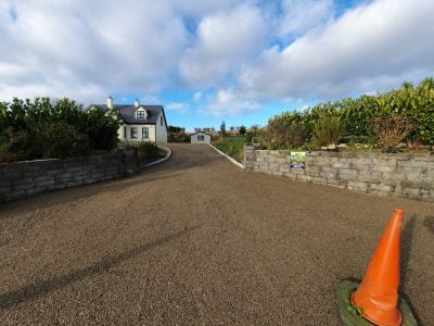Gold Chip with tar on a driveway near Bantry, West Cork