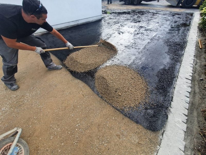 Installing tar and chip in Mallow, North Cork